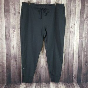 Eileen Fisher gray cotton ankle zip jogger pants